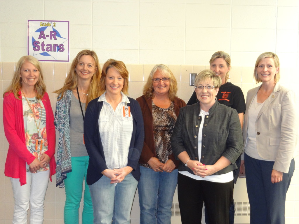 Lake City Education Foundation grant recipients thank Hearth and Home Technologies for their support. (left to right) Jacquie Stoltz, Cindy Martin, Sarah Nutt, Kim Liljevall-HHT, Becky Houghton, Tracy Oliver, Mary Gastner-LCEF.