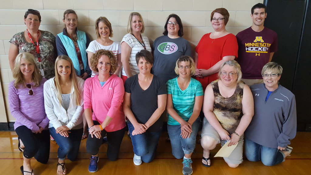 Grant Recipients L to R back row: Jen Baures, Cindy Martin, Sarah Nutt, Heidi Berge, Anna Karsten, Amy Rogness, Tom Horner. L to R front row:  Jacquie Stoltz, Brooke Bitzan, Danielle Hegge, Amy Heise, Mary Mann, Candy Wait, Becky Houghton